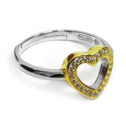 925 Sterling Silver Golden Heart Ring