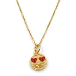 Collana con Ciondolo Emoticon Innamorata in Argento 925 Placcato Oro