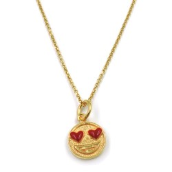Gold Plated 925 Sterling Silver Necklace with Emoticon in Love Pendant