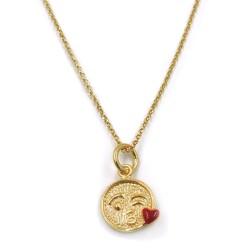 Collana con Ciondolo Emoticon Bacio in Argento 925 Placcato Oro