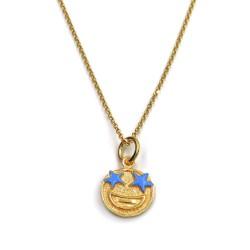 Collana con Ciondolo Emoticon Sorpresa in Argento 925 Placcato Oro