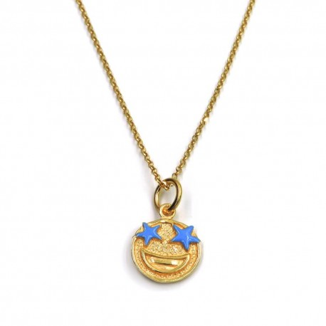 Gold Plated 925 Sterling Silver Necklace with Surprise Emoticon Pendant