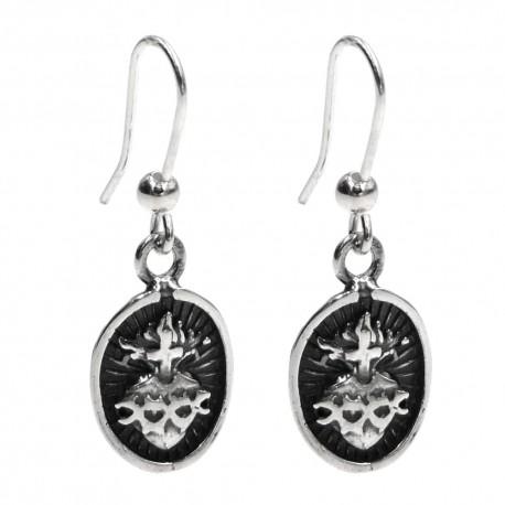 Holy Heart 925 Sterling Silver Oval Pendant Earrings