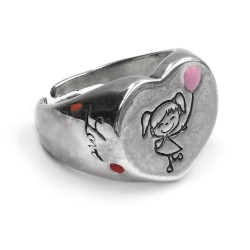 Sterling Silver Heart Shaped Chevalier Baby Girl Ring