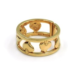 Gold Plated 925 Sterling Silver Band Hearts Ring