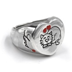 Sterling Silver Heart Shaped Chevalier Cat Ring