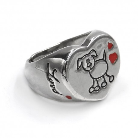 Sterling Silver Heart Shaped Love Dog Ring