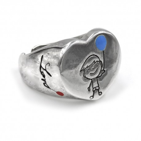 Sterling Silver Heart Shaped Baby Boy Ring
