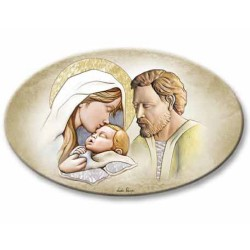 Oval Fresco on Wood with 925 Sterling Silver Inserts Holy Family