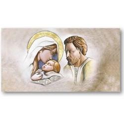 Affresco su Legno con Applicazioni in Argento 925 Sacra Famiglia
