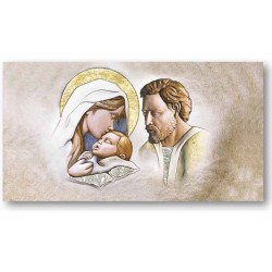 Fresco on Wood with 925 Sterling Silver Inserts Holy Family by VALORI