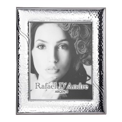 Silver Picture Frame Glossy Hammered Wake 5 x 7