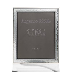 925 Sterling Silver Hammered with Edge Photo Frame 5x7 Cherry Wood Back