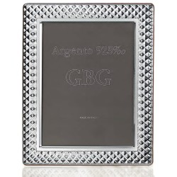 925 Sterling Silver Photo Frame Bricks 7 x 9 Cherry Wood Back