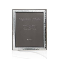 Sterling Silver Hammered with Edge Photo Frame 4x6' Cherry Wood Back