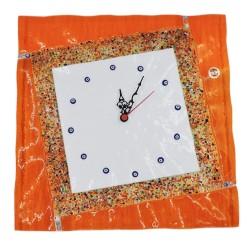 Orologio da Parete in Vetro di Murano Arancione con Murrine