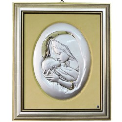Virin with Child 925 Sterling Silver Oval Frame