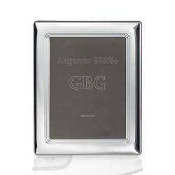 Cornice Portafoto in Argento Massiccio 925 Lucida Con Fasce Interne cm 10x15