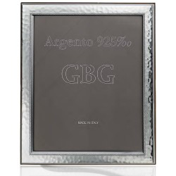 Sterling Silver Photo Frame 8 x 10 Hammered With Edge Cherry Wood Back
