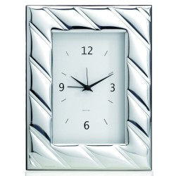 Cross Lines Silver Table Clock