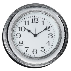 Round Silver Wall Clock with Edge