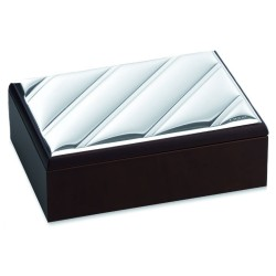 Cross Lines Wooden Jewelry Box with Silver Cover