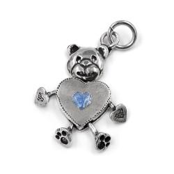 Heart Shaped Bear Silver Pendant Blue Enamel