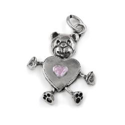 Heart Shaped Bear Silver Pendant Pink Enamel
