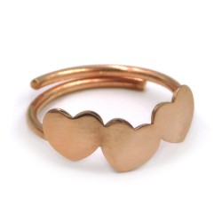 Pink Gold Plated Sterling Silver 3 Hearts Ring