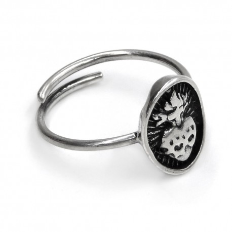 Anello Sacro Cuore Ovale in Argento Sterling 925