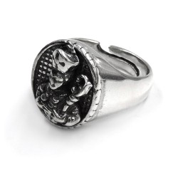 Saint Gennaro Sterling Silver Oval Chevalier Ring