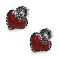Enamelled Sterling Silver Holy Heart Stud Earrings