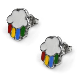 Sterling Silver Cloud and Rainbow Stud Earrings