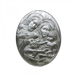 Oval Silver Framework Headboard Motherhood with Jesus