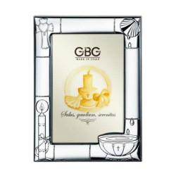 Cornice in Argento cm 9 x 13 con Simboli del Battesimo