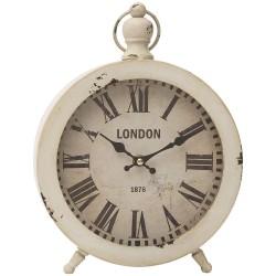 Orologio da Tavolo in Metallo Bianco Vintage London