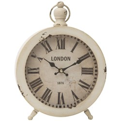 Vintage Table Clock in White Metal London by Mauro Ferretti