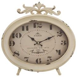 Orologio Ovale da Tavolo in Metallo Bianco Vintage Paris