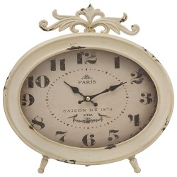 Oval Table Clock in White Metal Paris by Mauro Ferretti