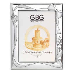 Candle and Bow Christening Silver Picture Frame 5 x 7