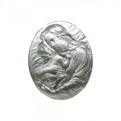 Quadro Sacro Capezzale Capoletto Maternità Ovale a Rilievo cm 20x24,5 in Argento