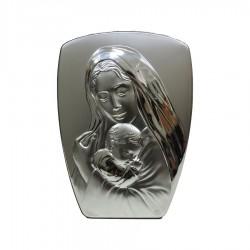 Quadro Sacro Capoletto Sagomato Maternità a Rilievo in Argento