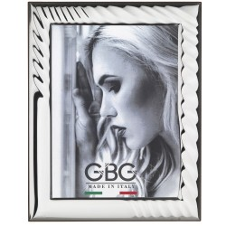 Silver Picture Frame Glossy Spiral Effect 7 x 9