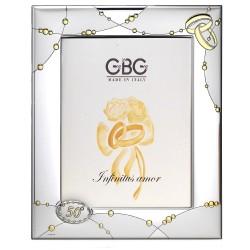Cornice in Argento con Medaglione Nozze Oro cm 13x18