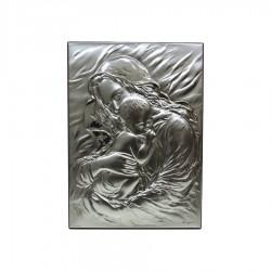 Quadro Sacro in Argento Maternità Rettangolare a Rilievo cm 17x23,5