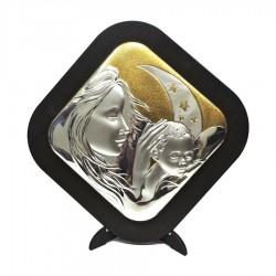 Framework Sacred Rhomboidal Headboard Motherhood Embossed Silver With Golden Details