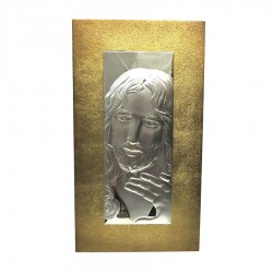 Framework Sacred Rectangular Headboard Jesus Embossed Silver