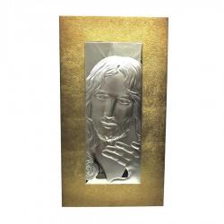 Quadro Sacro Capoletto Volto di Gesù a Rilievo in Argento su Tavola Oro