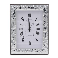 Glossy Creased Effect Silver Table Clock