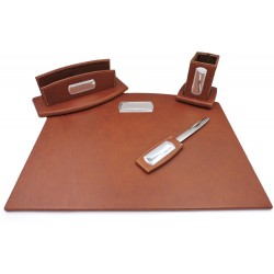 Office Supply Desk Set of 5 Pieces Real Leather Brown